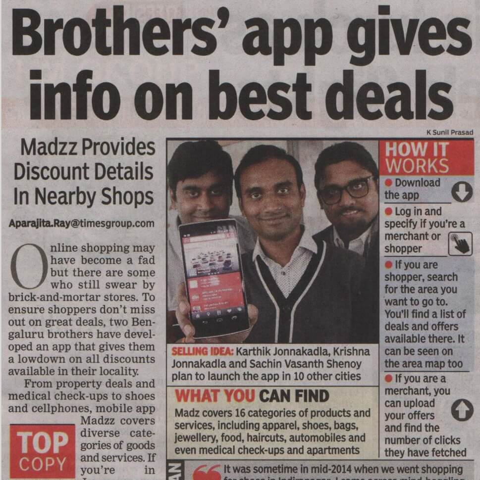 Madzz Featured in India Bangalore Top Copy
