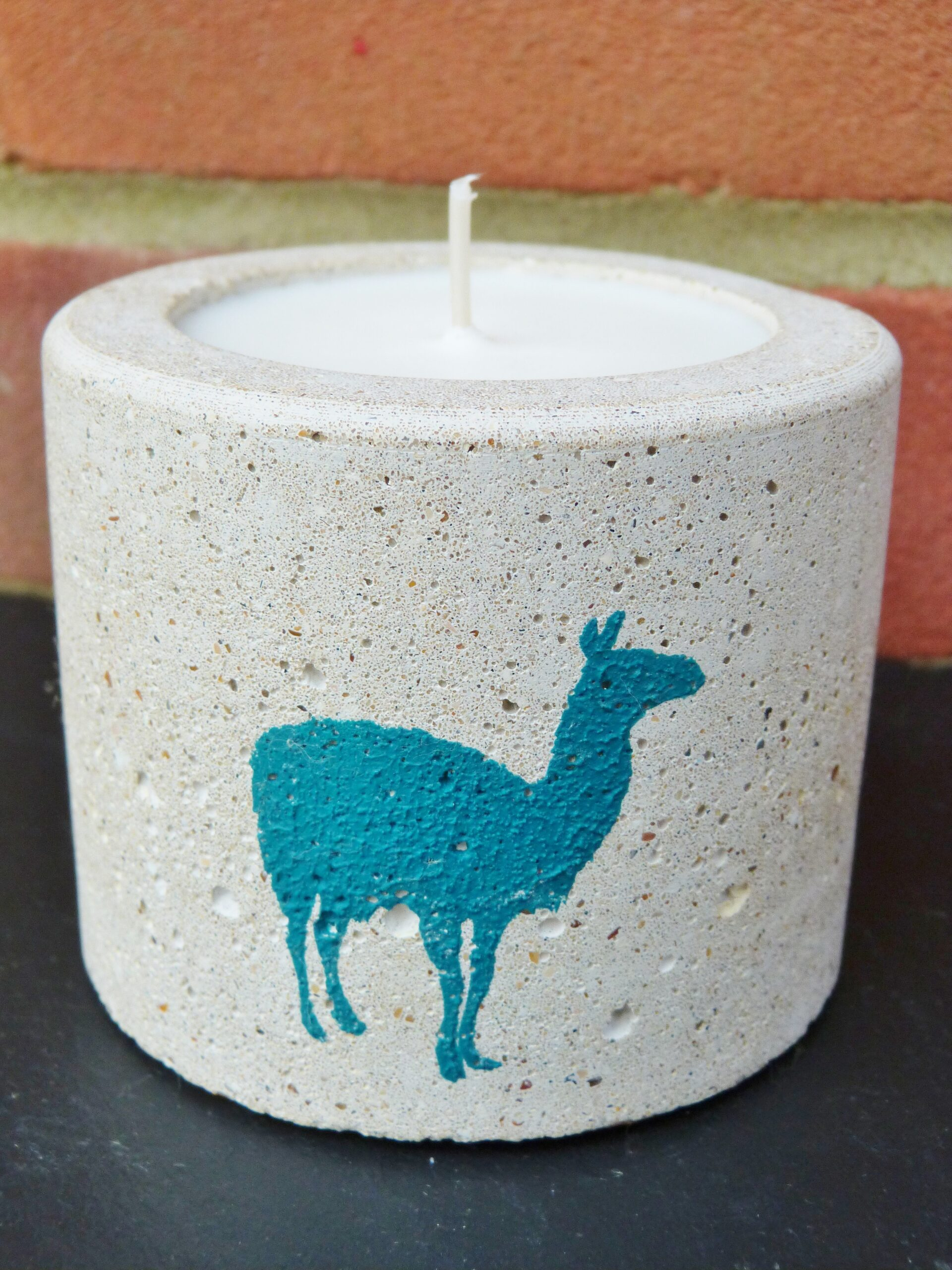 concrete candle soy wax teal llama motif