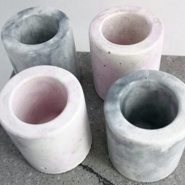 small marbled concrete vase, pink or grey