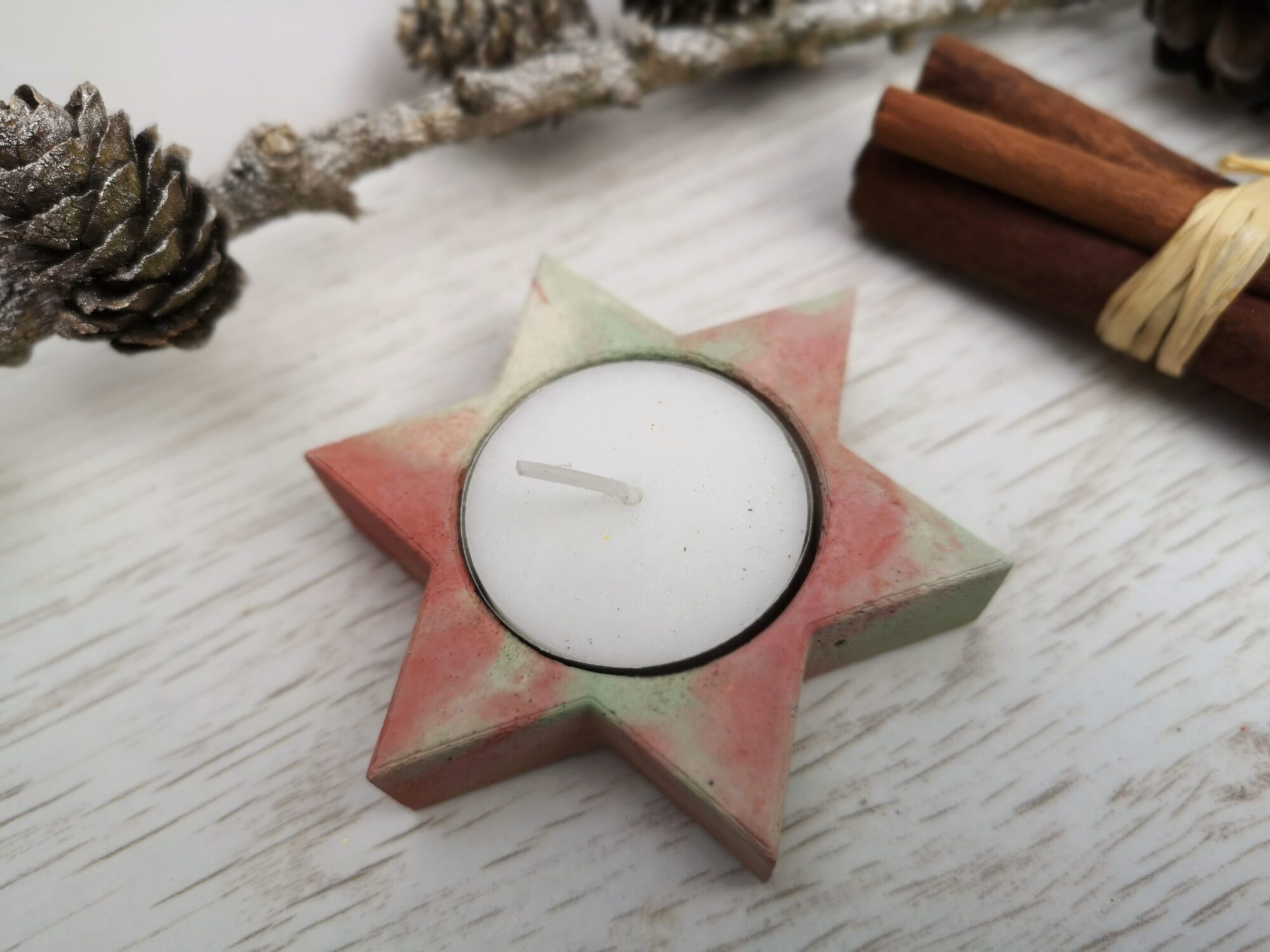 tree or star concrete tealight holders
