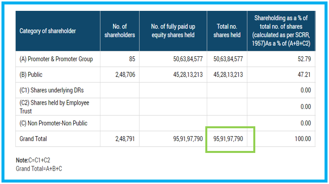 Total Number of share issued by the company: