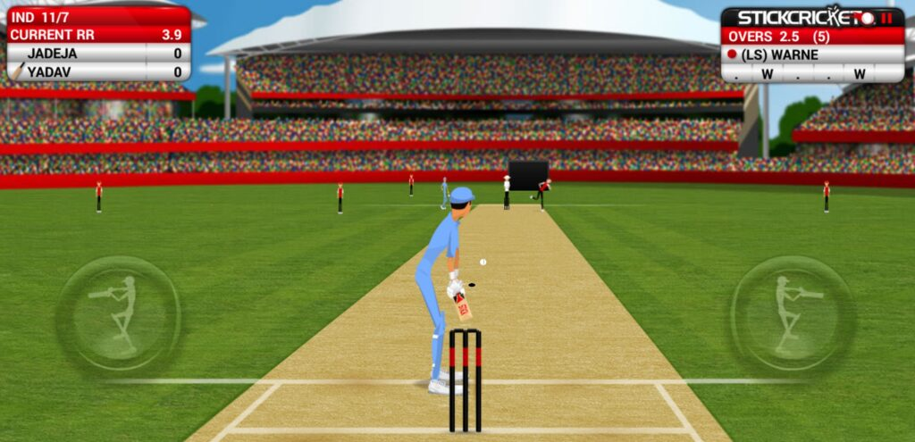 Stick Cricket gameplay, batsman playing the game