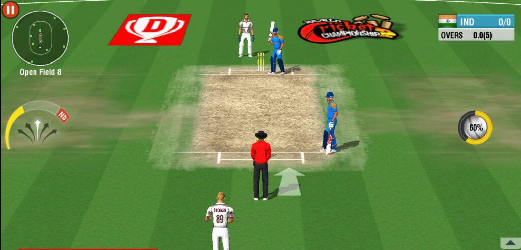 Gameplay of player batting in the cricket game