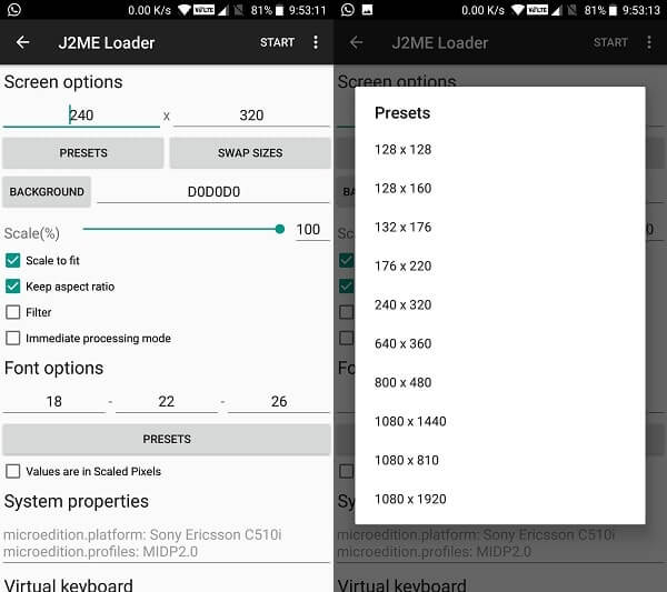 J2ME loader Screen on android - Play Java Games with J2ME on Android