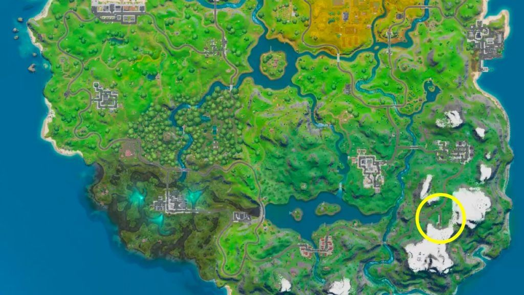 Map Location of Fornite Highest Mountain in Chapter 2 Screenshot