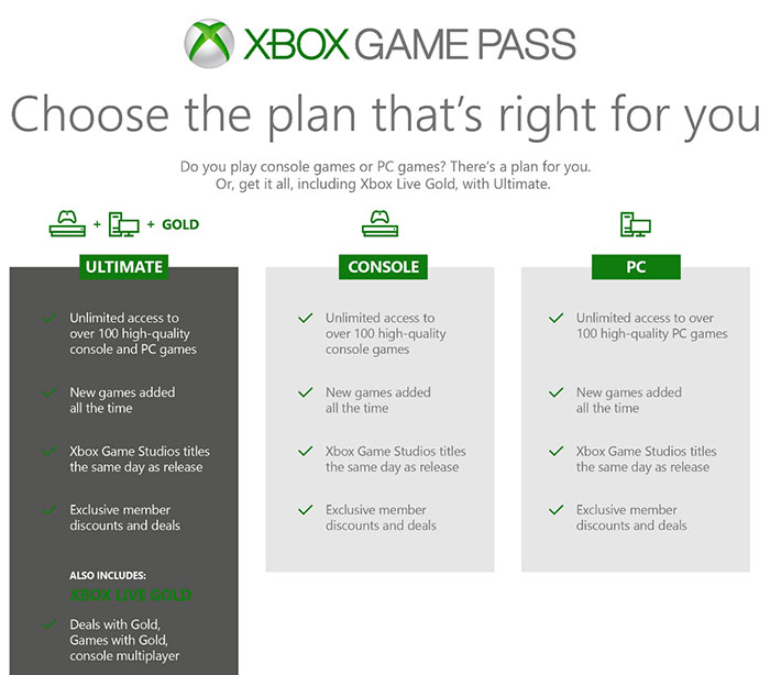 XBOX Game Pass Plan