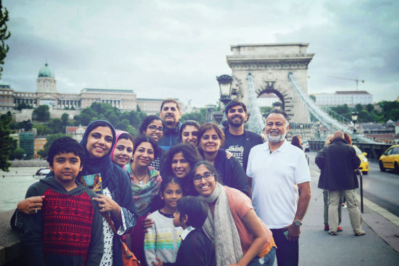 Our group posing on Chain Bridge, the famous bridge connecting Buda and Pest. Buda Castle can be seen in the background