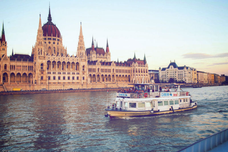 A surreal view from our cruise on the Danube of Budapest's magnificent Parliament building