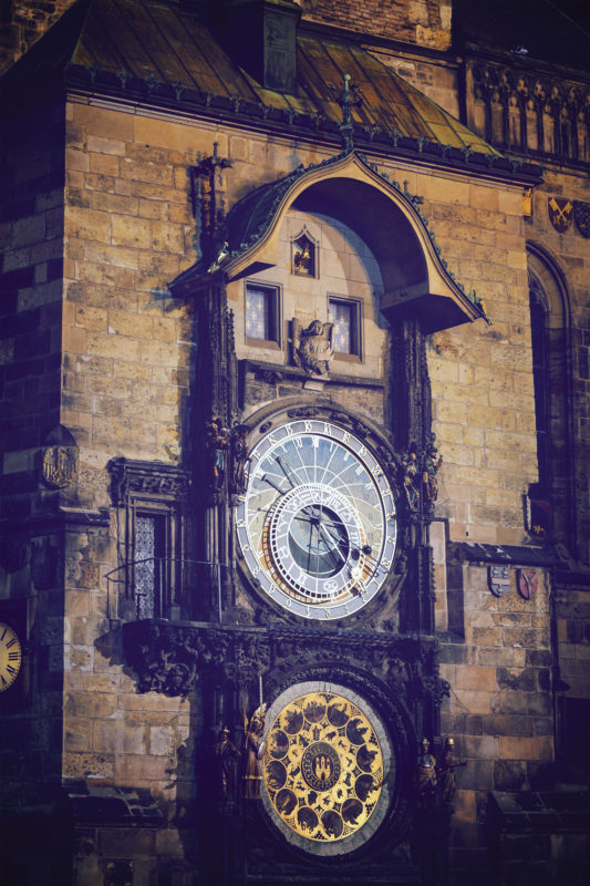 A close-up view of the astronomical clock in Old Town Square