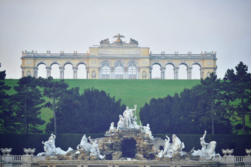 Gloriette Monument on top of the hill of Schoenbrunn Palace