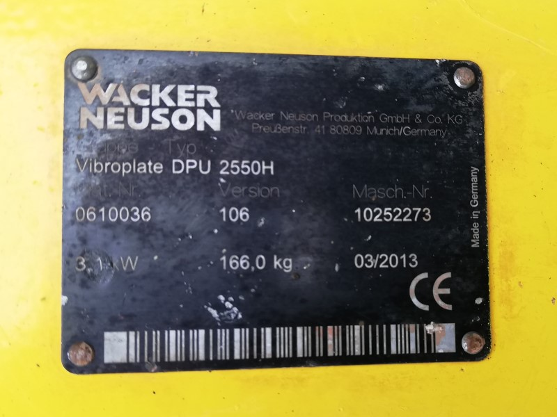 "Used 20"" Wacker Neuson DPU2550 Diesel Reversible Plate Compactor for Sale"