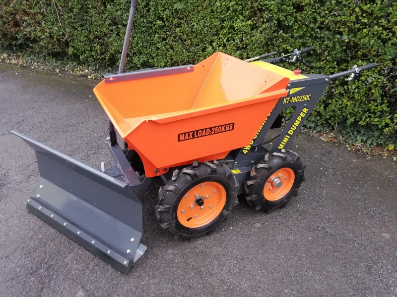 4WD Petrol Mini Wheeled Dumper with a Grader, Snow Plough Attachment For Sale