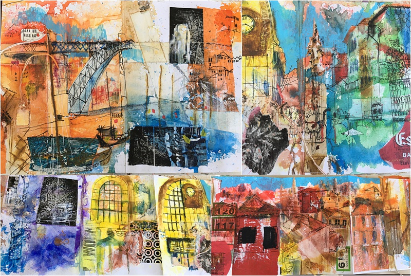 collage mixed media on location concertina