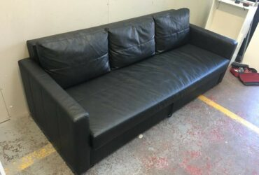 FREE DELIVERY IKEA FRIHETEN BLACK LEATHER 3 SEAT SOFA BED