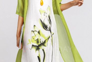 Midi X-line Woman Green Dress