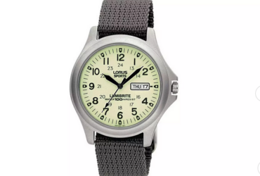 Lorus Men&  Lumibrite Grey Fabric Web Strap Watch