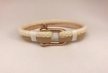 Twin KAKI Hidden's Beige Color Double Layer Paracord and Leather Bracelet ,Rose Gold Clasp