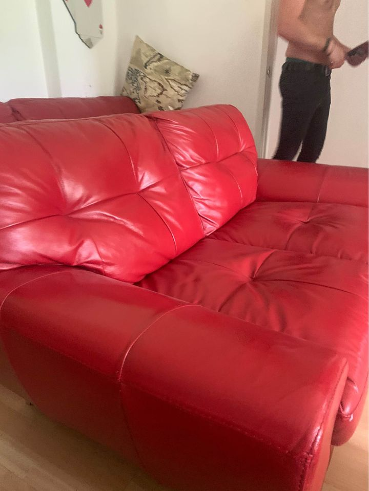 dfs red leather sofa 3 Seater 2 Seater And Poofe