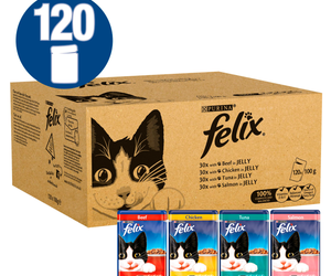 Felix Mixed Selection in Jelly Adult Cat Food Pouch – 120 x 100g By Felix