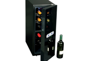 Koolatron WC12DZ Dual Zone Thermoelectric Cooler 12 Bottle Capacity with Digital Temperature Controls-Wine Cellar with Quiet Cooling Power and 4 Removable Shelves, Black/Silver