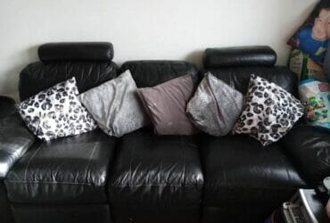 Genuine Black Leather Sofa