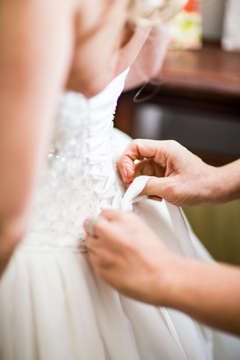 Bridal preparation corset bow