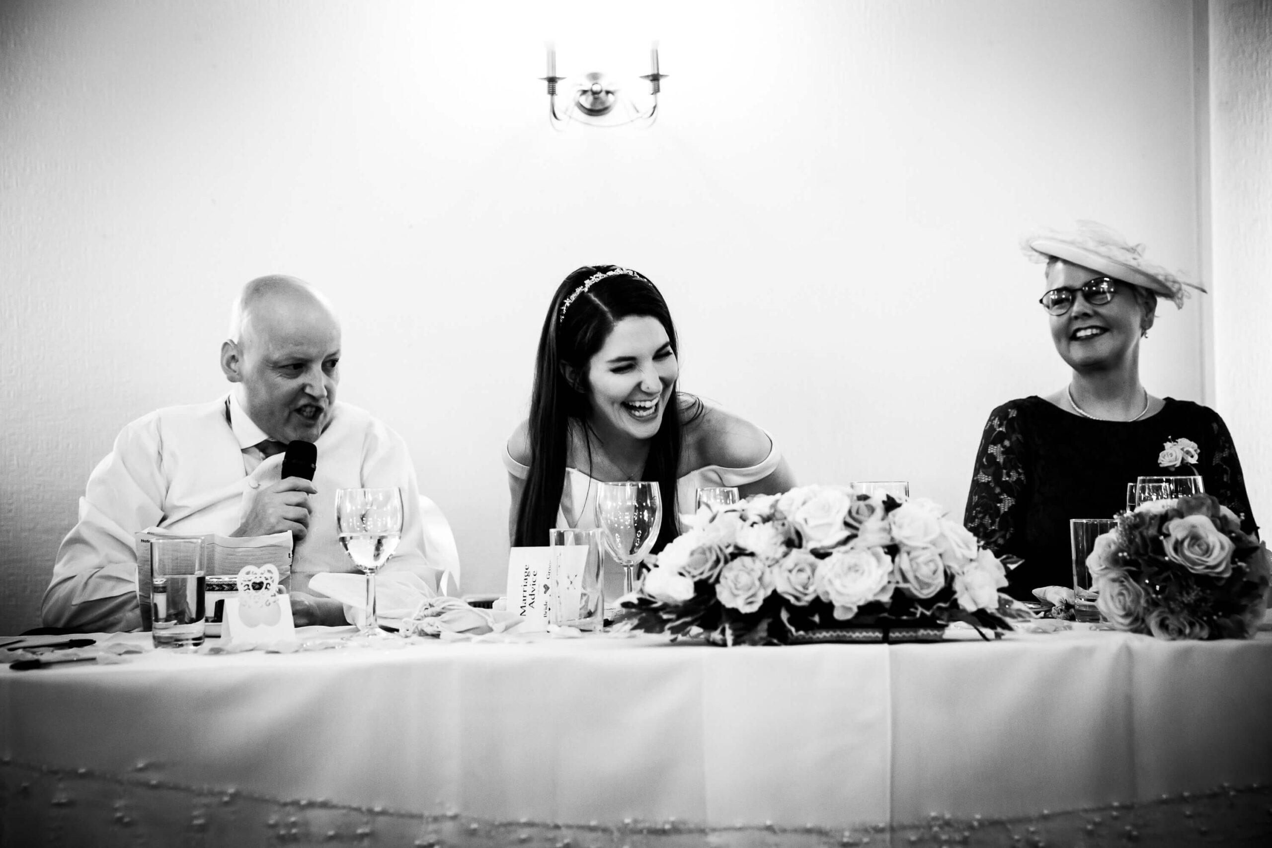 Groom's speech makes bride laugh out loud