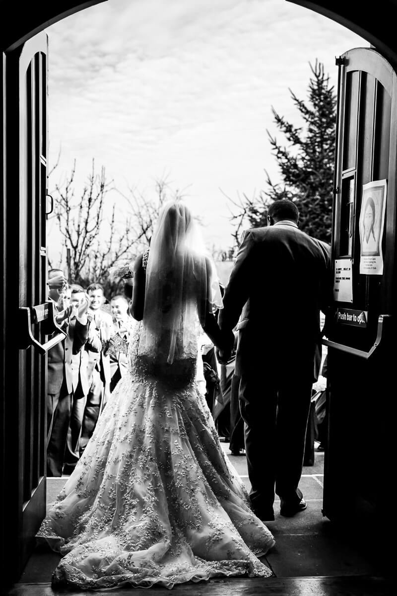 Newlyweds walking out of church