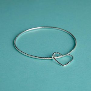 Handmade Hammered Silver Bangle With Hammered Silver Hear Wire Charm