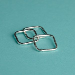 Handmade Silver Hammered Square Stacking Ring Trio by Corzo & Wood
