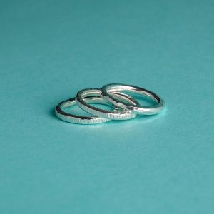 Handmade Silver Hammered Stacking Ring Trio by Corzo & Wood