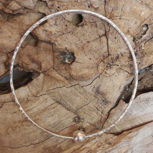 Hammered Bangle with Silver Bead (Medium) Handmade by Corzo and Wood