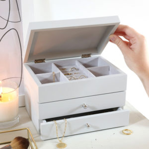 Grey Jewellery Box with pull-out drawers