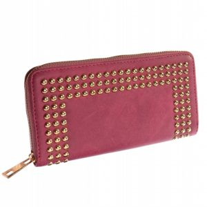 Faux leather pink studded large purse