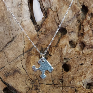 Small Hammered Jigsaw Piece Pendant Handmade by Corzo and Wood