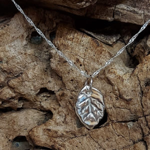 Tiny Leaf Pendant Handmade by Corzo and Wood