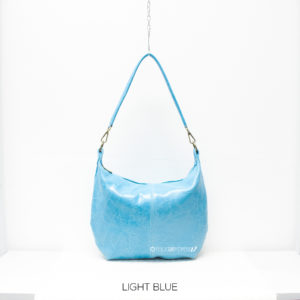 Curved Leather Shoulder Bag - Light Blue - Corzo and Wood