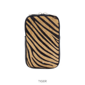 Anima Print Leather Phone Pouch Crossbody Bag - Tiger - Corzo and Wood
