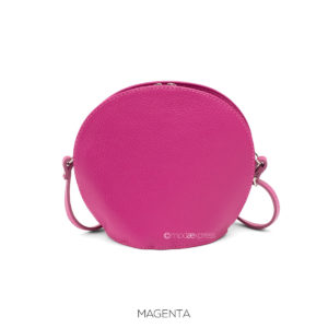 Leather Clamshell Small Crossbody - Magenta - Corzo and Wood