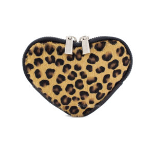 Leopard Print Leather Small Heart Purse - Corzo and Wood