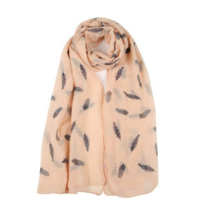 Feather Print Scarf in Peach - Corzo and Wood