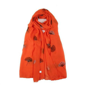 Flat Flower Print Scarf in Red Orange - Corzo and Wood