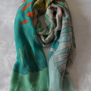 Leaf Print Scarf from Corzo and Wood