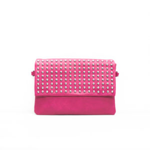 Studded Magenta Clutch Bag with Flap - Corzo and Wood