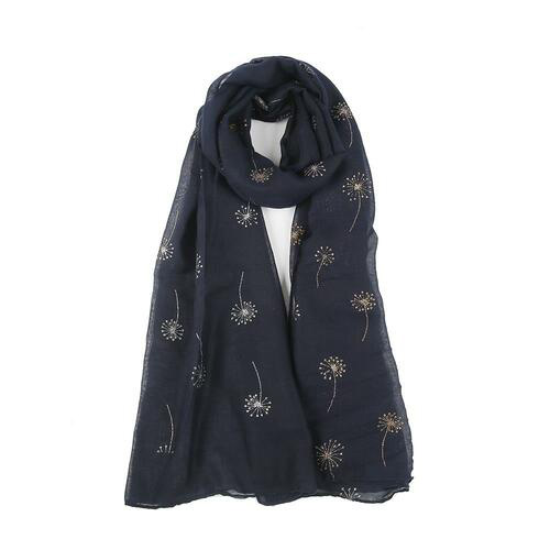 Two Tone Glitter Dandelion Print Scarf in Navy - Corzo and Wood
