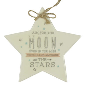 Star Shaped Aim For the Moon Ceramic Wall Hanging - Sold by Corzo and Wood