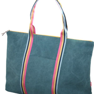travel Bag With Contrasting Stripes - Teal - Sold by Corzo and Wood