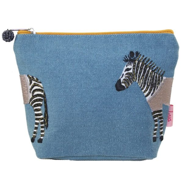 Zebra Applique Cosmetic Bag in Blue - Sold by Corzo and Wood