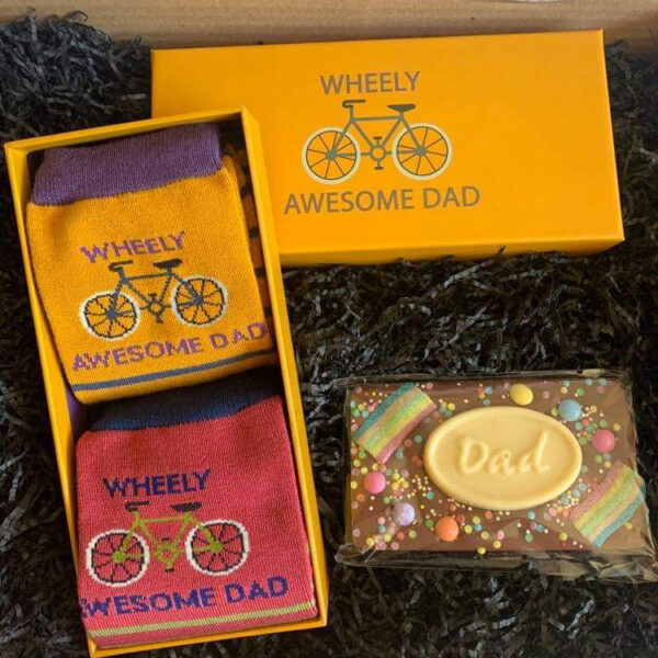 Dad Gift Box with Wheely Awesome socks and chocolate - sold by Corzo and Wood