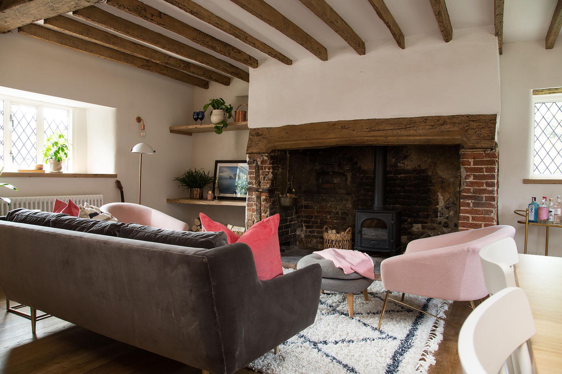 Living room showing warm oak finish